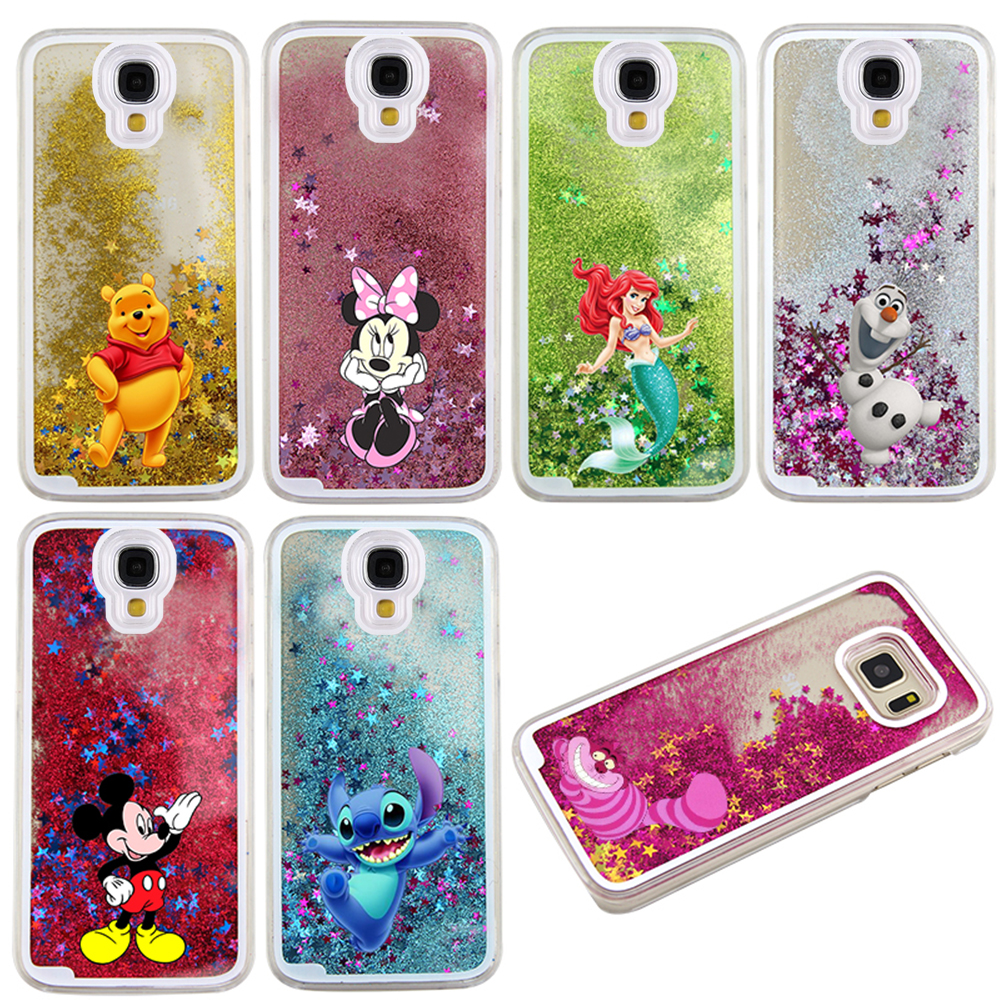 Newest Hot Cute Cartoon Characters Five-pointed Glitter Star Liquid Transparent Back Hard Cover Case for Samsung Galaxy S4 i9500
