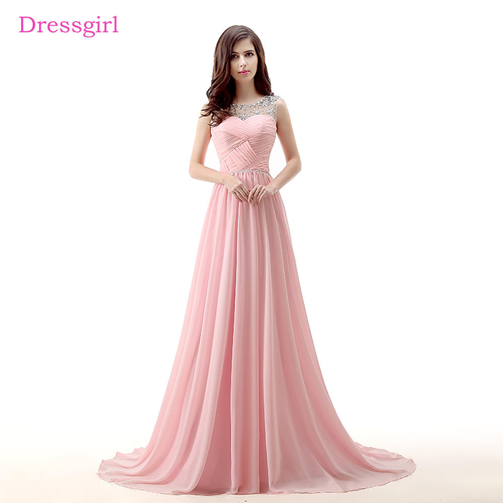 Pink Evening Dresses 2018 A-line Cap Sleeves Chiffon Beaded Crystal Elegant Long Evening Gown Prom Dress Robe De Soiree
