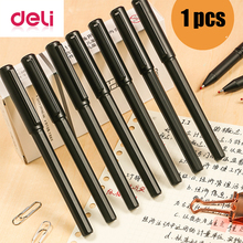 Deli 1pcs Quick-drying gel pen 0.5mm bullets press black large capacity carbon business office student stationery water