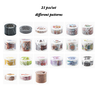 21Pcs/Set Coffee Series Different Patterns Kawaii Washi Tape DIY Decoration Notebook Masking Tape Paper Sticker Scrapbooking