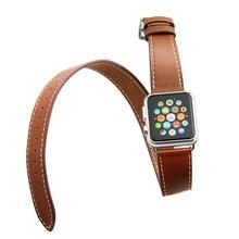 V-moro de largo recorrido doble pulsera de cuero genuino correas de reloj correa de la banda para apple watch 38mm 42mm