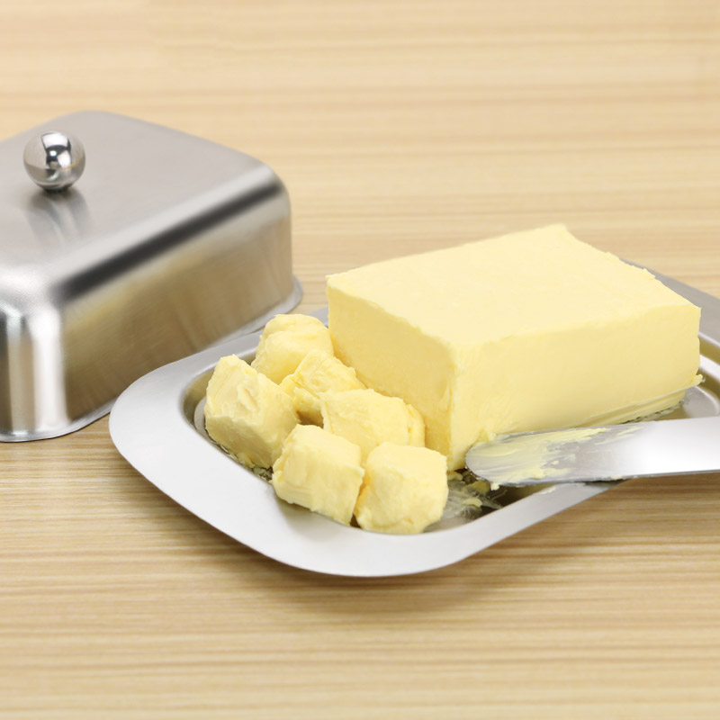 Storage Container Stainless Steel Cheese Butter Box Storage Fruit Salad Dinner Tray Convenient Kitchen Cooking Dish Plates 1Set in Cheese Boards Trays from Home Garden