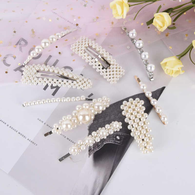 Thời trang Phụ Nữ Cô Dâu Cô Dâu Đám Cưới Ngọc Trai Tóc Clip Pins Barrette Stick Cặp Đầu Pin Phụ Kiện Trang Sức Mũ Sắt Tiara