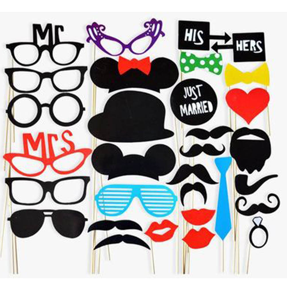 Photo Booth Props 31 Pcs/Set Photobooth For Wedding Birthday Party Photo Booth Props Glasses Mustache Lip On A Stick(China)