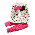 2016 new spring fashion baby girls cartoon suits falbala long-sleeved T-shirt + pure color bowknot pants,Children's dot suit
