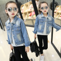 2017 spring and autumn female child denim jacket girls spring pearl denim outerwear