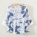 Verão de algodão de linho mori menina impressão blusa peplum top solto boneca blusas