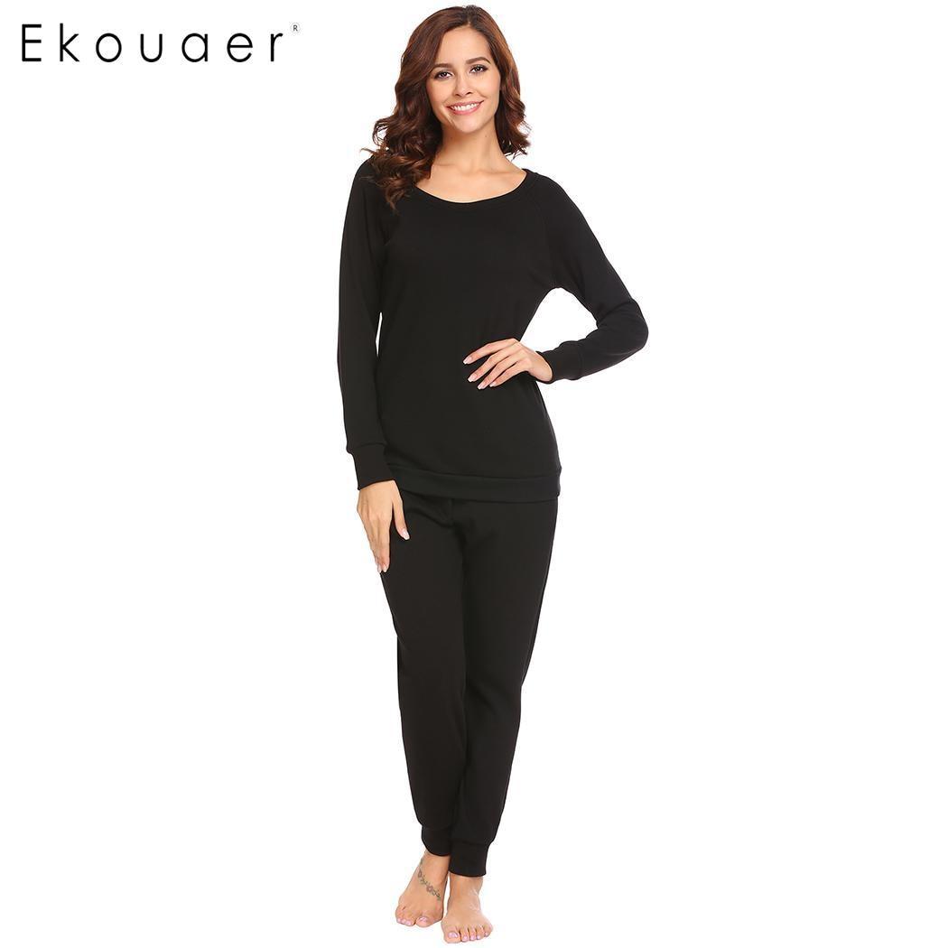 2d3360d35 Ekouaer Women Pajama Sets 2 Piece Sleepwear Set Long Sleeve Fleece Lined  Top and Pant Thermal Underwear Nighties Pajamas Set-in Pajama Sets from  Underwear ...