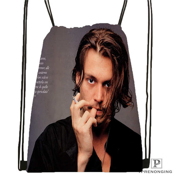 Custom johnny depp 01 Drawstring Backpack Bag Cute Daypack Kids Satchel Black Back 31x40cm 180611 03