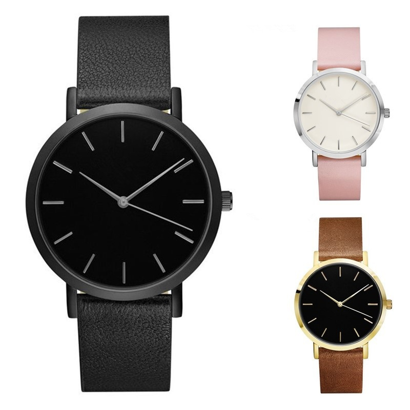 2017 Fashion Men Women Business Quartz Watches Casual Leather Band Wristwatch Water Resistant 3ATM Simple Watches