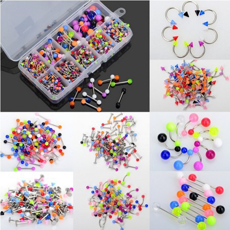 Wholesale Piercing Jewellery 90Pcs lot Stainless Steel Lip Labret Piercing Nose Rings Tragus Piercing Body Jewelry Color Random in Body Jewelry from Jewelry Accessories