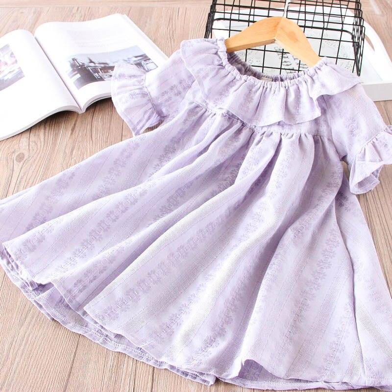 Hurave peter pan Collar causal ruffles new summer Baby Girls printing Dress Clothes Children short Sleeve Kids Dresses
