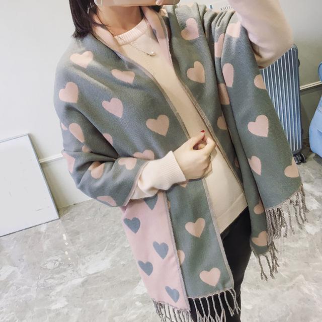 2017 Primavera otoño invierno amantes en forma de corazón de Imitación de la cachemira bufanda chal señora chal macramé mantener caliente bufandas