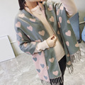 2017 Spring autumn winter shawl Imitation cashmere lovers heart shaped  scarf lady macrame shawl keep warm scarves