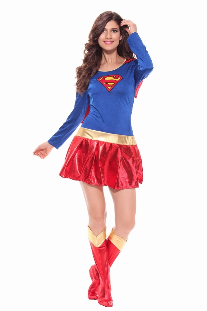 Sexy Woman Superhero Adult Costume Fancy Dress Outfit Halloween Super Girl Superwoman -1365