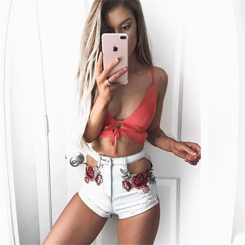 Embroidery Floral Hollow out Denim Shorts