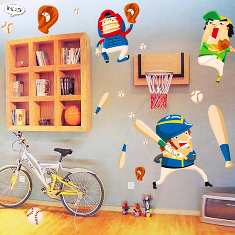 Diy cartoon sports baseball player wall sticker boy baby for Home decor outlet 63125