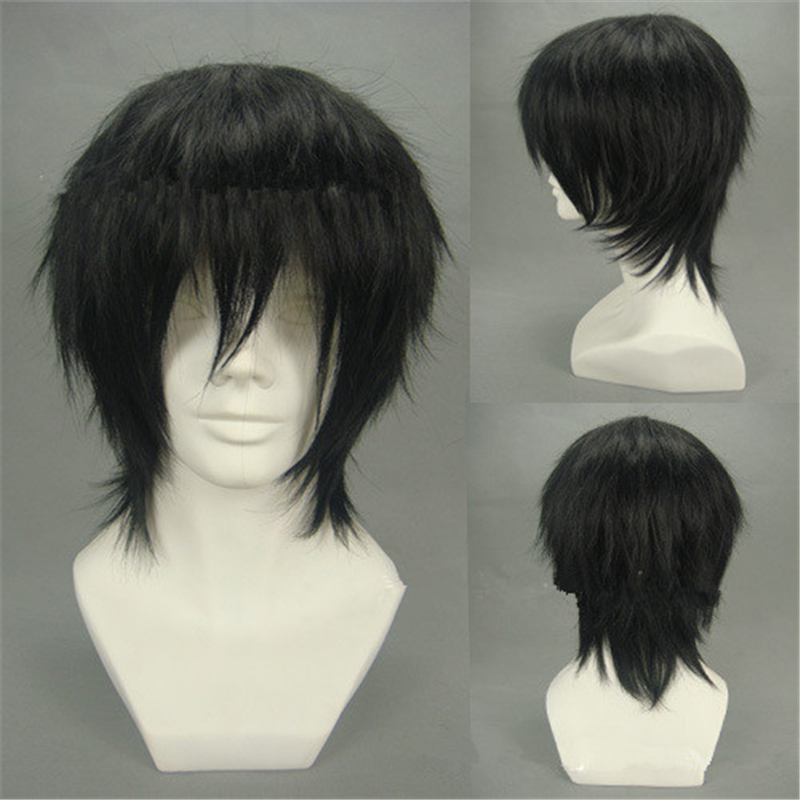 Anime Durarara Orihara Izaya Cosplay Wig Women Man Black Fluffy Short Hybrid Fiber Feat Resistance Hair Wig Party Accessories
