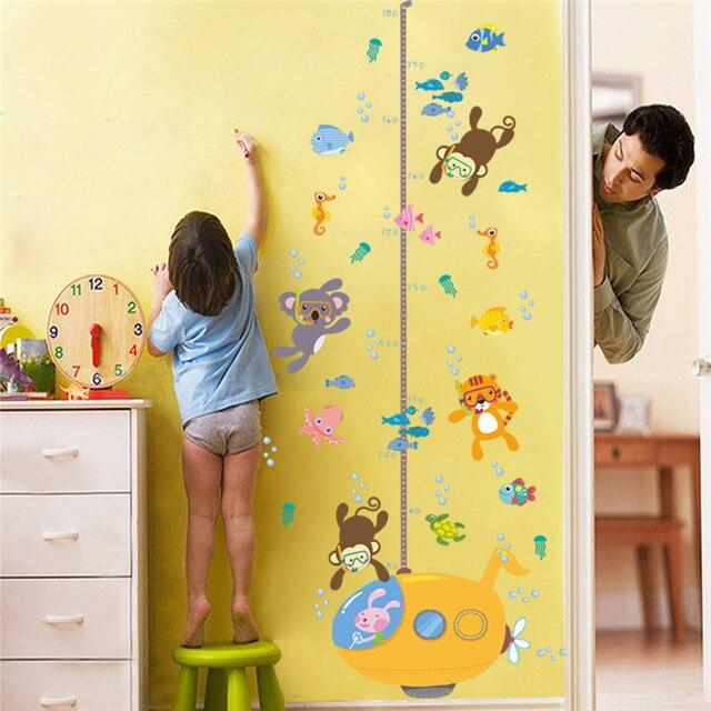 Cartoon Animals Underwater Diving Growth Chart Wall Stickers Kids ...