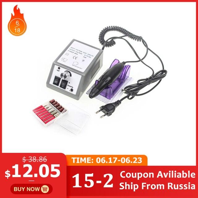 Electric Nail Drill Manicure Set File Grey Nail Pen Machine Set Kit With EU Plug Free Shipping 100-240V