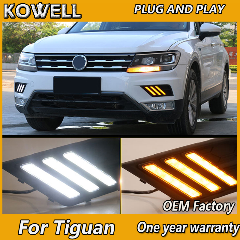 KOWELL Car Styling For Volkswagen Tiguan 2017 2018,Turn Yellow Signal Style Relay Waterproof 12V Car LED DRL Daytime Running image