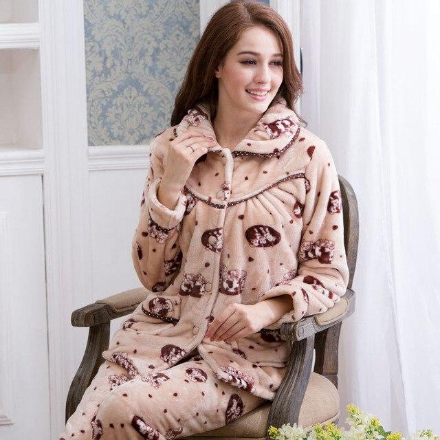 Flanela macia pijama Sleepear Inverno Encantador Dos Desenhos Animados Conjunto Sono Manga Longa Das Mulheres de Lã Grossa de Veludo Quente do Sexo Feminino Pijama Desgaste Casa