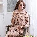 Soft Flannel pajamas Sleepear Winter Lovely Cartoon Women Thick Fleece Sleep Set Long Sleeve Warm Velvet Female Pijama Home Wear