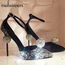 Mode Kristallkugel Frühling Thin High Heels Ankle Strap Frauen Pumpt Rote Hochzeit Kleid Schuhe Frau Stiletto Cinderella Schuh