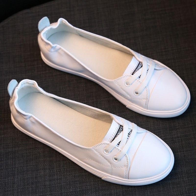 Kleine weiße schuhe weiblichen flachen boden casual Koreanische reise stick krankenschwester student bord schuhe|Flache Damenschuhe|   - AliExpress