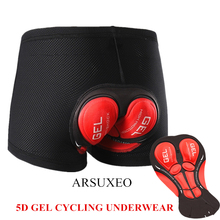 ARSUXEO Cycling Shorts Pro 5D Gel Padded Shockproof Men's Black Bicycle road Bike Underwear Shorts Bicycle Riding mtb clothing