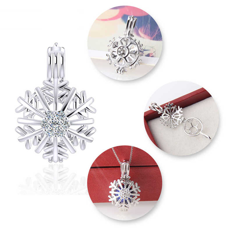 CLUCI 925 Sterling Silver Winter Snowflake Women Pendant Zircon Pearl Cage Pendant Christmas Gift Wish Pearl Locket Pendant