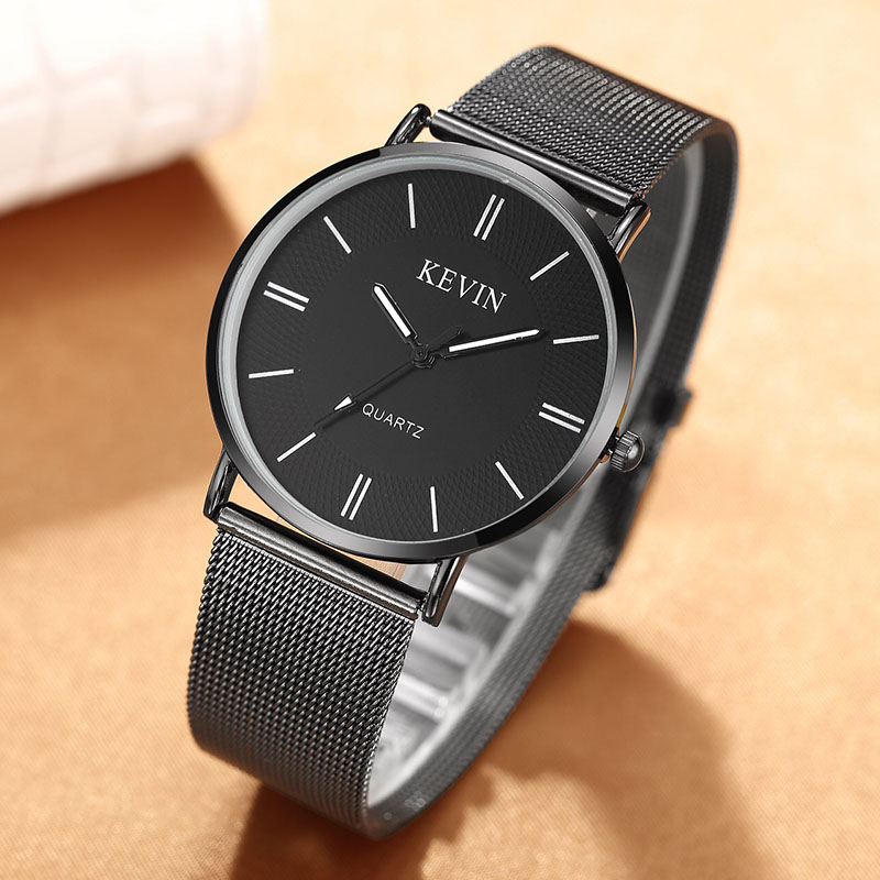 Unique Simple Stylish Lovers' Watches Black Silver Stainless Mesh Belt Watches Mens Womens Quartz Wristwatch Couple Watch