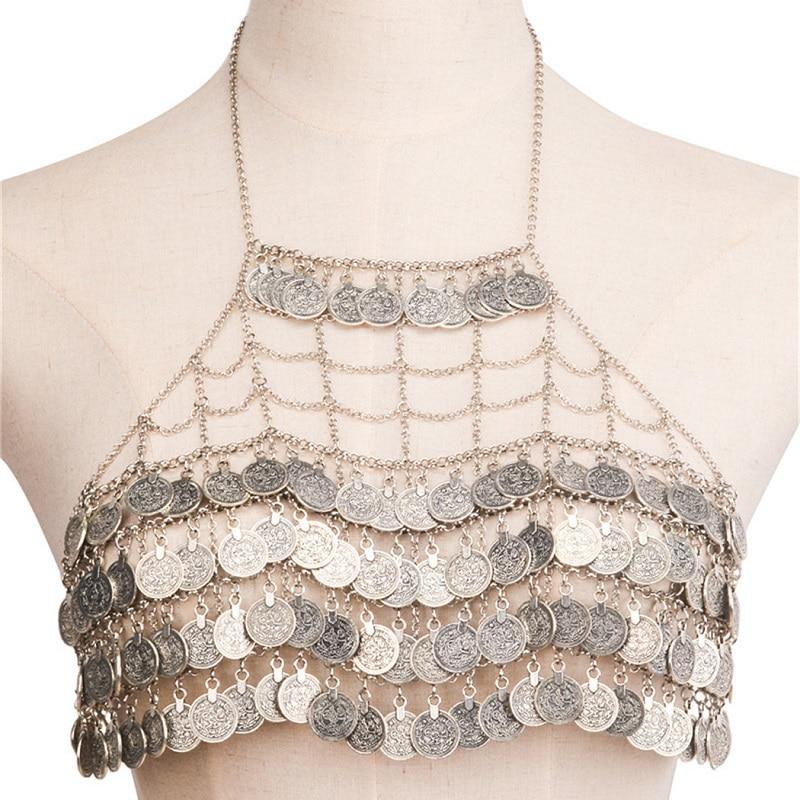 Coin Tassels Sexy Body Chain Bikini Bra Fashion Women Alloy Multi LayerVintage Maxi Necklace Waist Belly Chain Jewelry цена