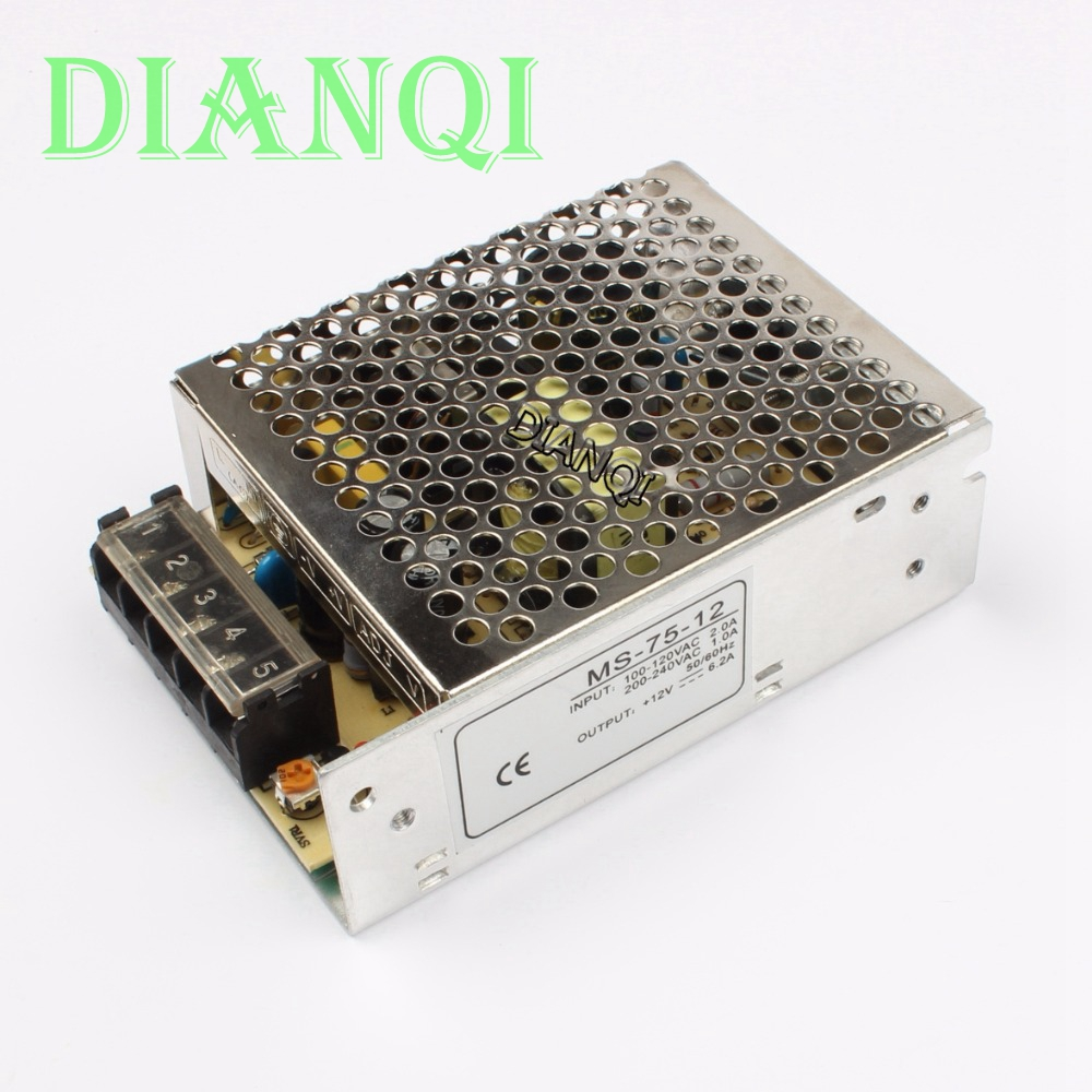 все цены на power supply 75w 12V 6.3A power suply unit 75w 12v mini size din led  ac dc converter  ms-75-12
