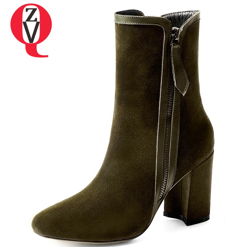 Zvq 2018 Newest High Quality Genuine Leather Round Toe Super High Strange Style Platform Zip Black And Green Women Ankle Boots Children's Shoes Wires & Cables