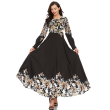 New Chiffon Abaya Dubai Gowns Muslim Dress Women Summer Elegant Printing Causal Long Middle East Arab Islamic Clothing
