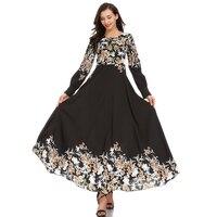 New Chiffon Abaya Dubai Gowns Muslim Dress Women Summer Elegant Printing Causal Long Dress Middle East Arab Islamic Clothing
