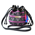 Bolsa Women Canvas Printing Shoulder Bag Fashion National Style Pattern Diamond Lattice Cross Body Messenger bag Small Bucket