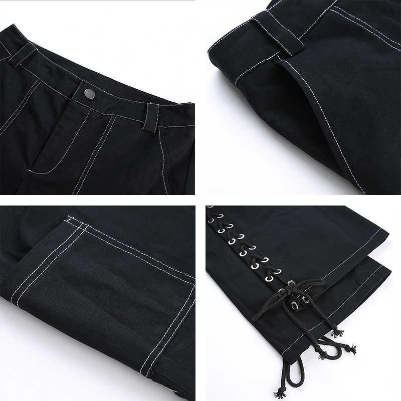 Rapwriter/уличная одежда в стиле панк, с перекрестной шнуровкой сбоку, прямые черные женские брюки, 2019, высокая талия, брюки для бега, длинные штаны, Капри с карманами