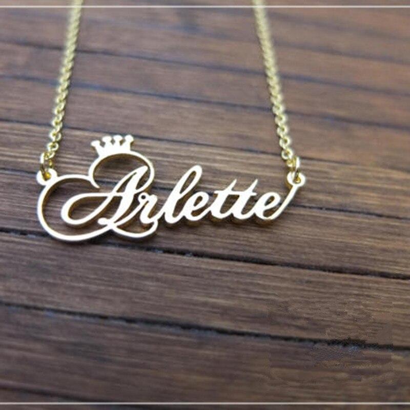 Personalisierte Name Crown Halskette Handmade Customized Cursive Schrift Typenschild Anhänger Edelstahl Kette Schmuck Geburtstag Geschenke