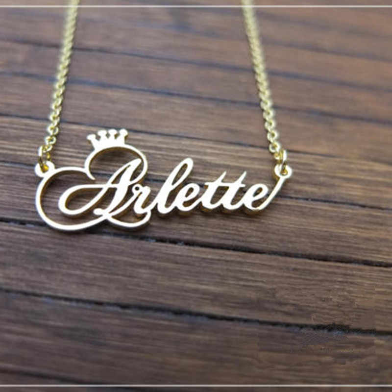 7462bd0b069bea Personalized Name Crown Necklace Handmade Customized Cursive Font Nameplate  Pendant Stainless Steel Chain Jewelry Birthday Gifts