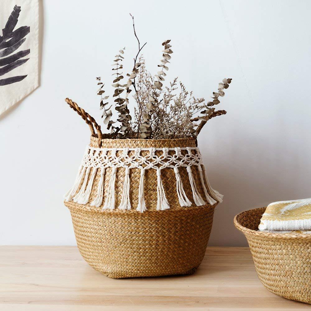 Seagrass white basket for decoration laundry basket woven basket gift basket handmade tassel Vase(China)