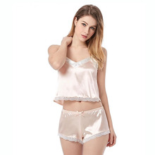 Womens Sexy Sling Sleepwear Ladies simulated silk pajamas set Nightdress Underwear Suit lace V neck