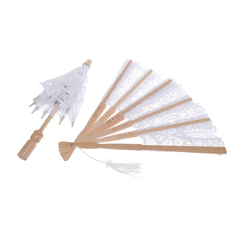 Lace Decorative Folding Fan And Small Umbrella Chinese Style Wedding Party Home Ornaments
