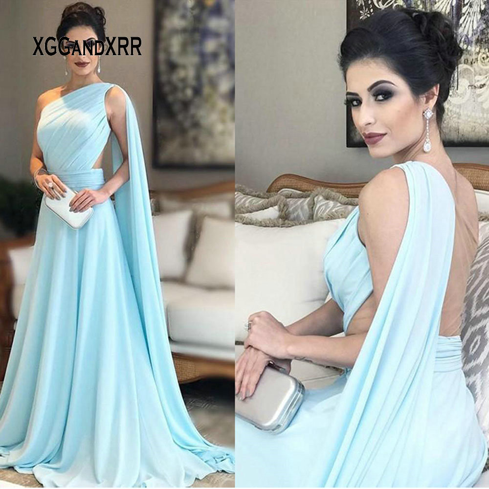 Robes de soirée en mousseline de soie bleu clair élégant 2019 une épaule longue robe de soirée formelle robe de soirée robe de festa grande taille