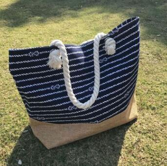 2018 Striped Canvas Beach Bag Large Shoulder Bag Portable Beach Handbags