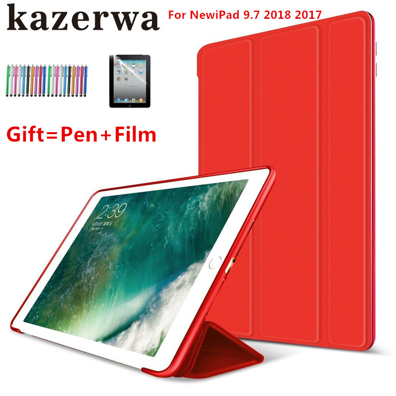 Flip PU Leather Case Stand Smart Case for New Apple iPad 9.7 2017 2018 Shockproof Cover for iPad 2018 2017 A1893 Case+Film+Pen