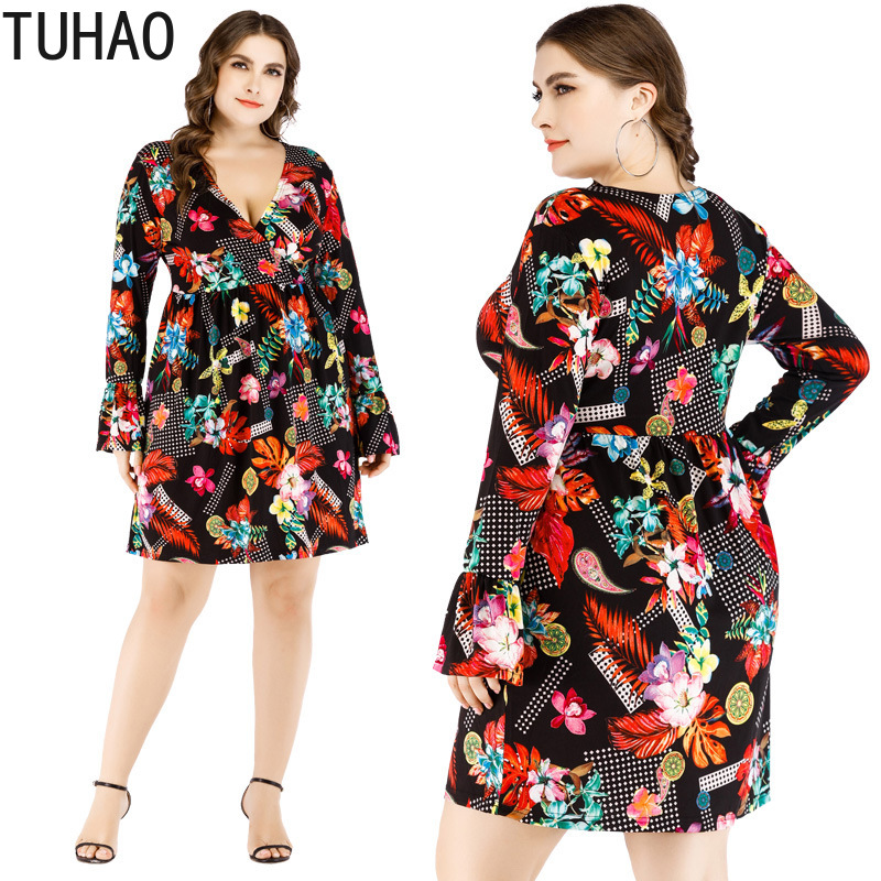 TUHAO 2019 Spring Summer Bohemian Dress Romantic Style Dresses Plus Size 6XL 5XL 4XL Elegant Party Night Female Sexy Dress