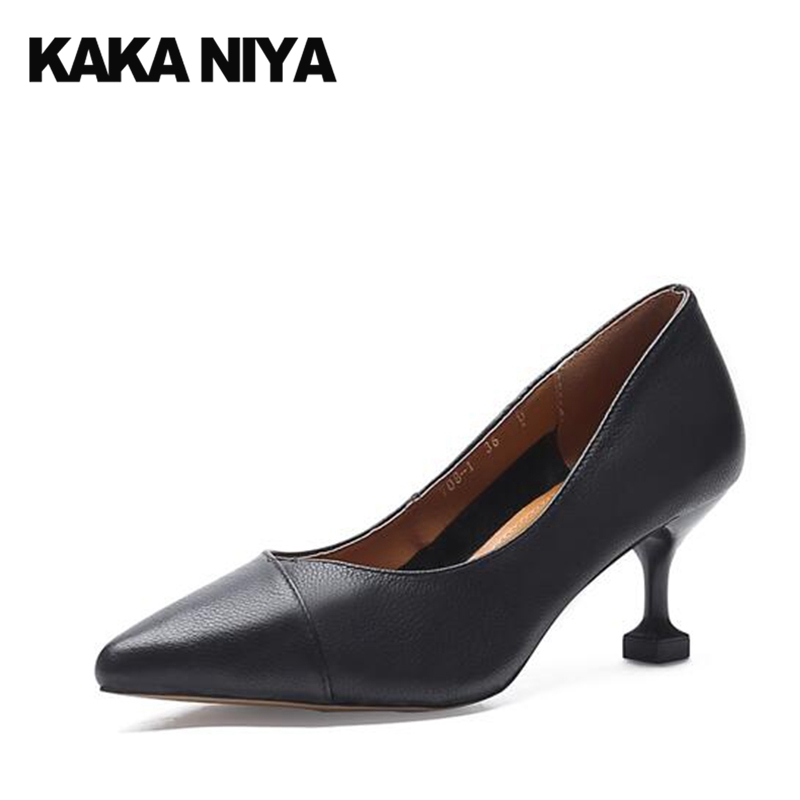 Court High Heels Size 4 34 Office Thin Pumps Genuine Leather Pointed Toe Ladies Formal Shoes 2017 Medium Black Chinese New