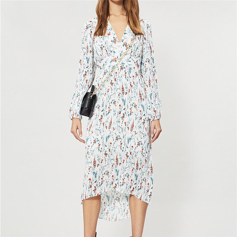 Women Dress 2019 Spring and Summer New Printed Pleated Irregular Long Dress